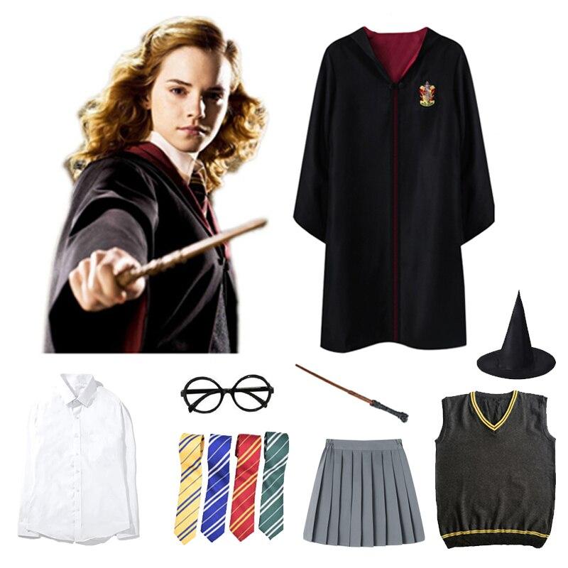 Potter cosplay trajes roupas manto mágico capa halloween hogwarts uniforme gravata capa