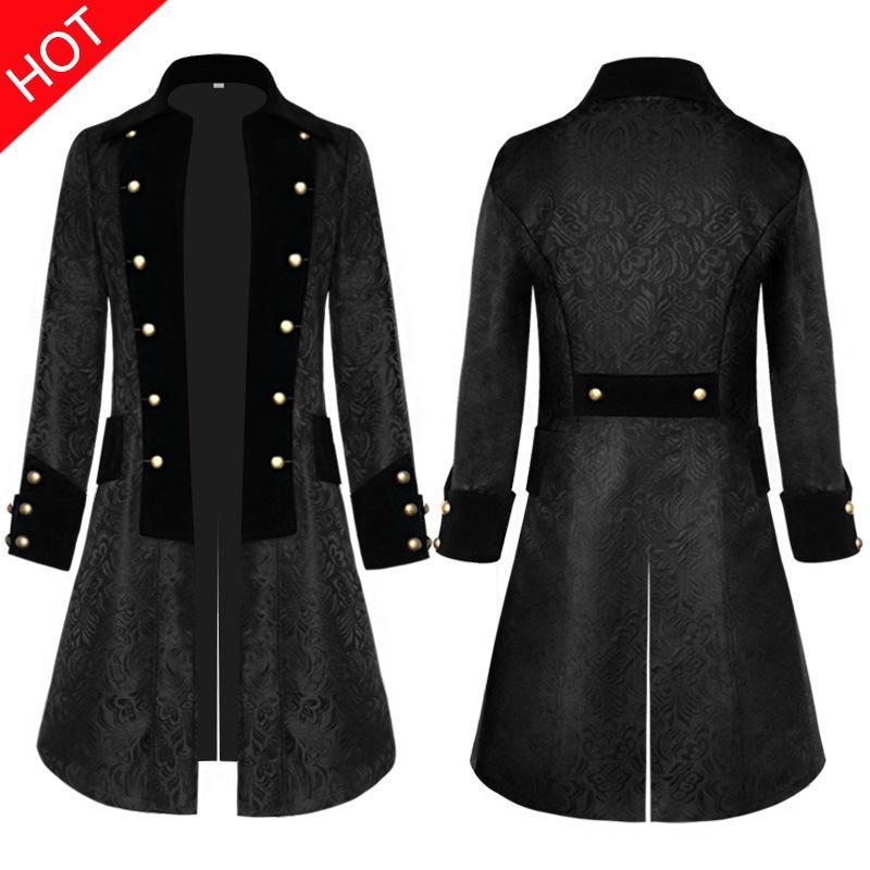 La época Medieval disfraces hombres de mediana edad capa sólido negro Jacquard uniforme vintage Halloween Cosplay disfraces abrigo de diario