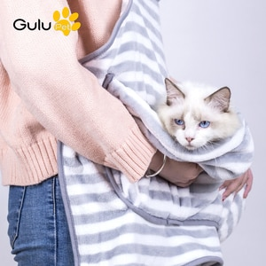 Coral Velvet Rabbit Cat Apron Hug Cotton Dog Clothes Travel Shoulder Bag Hands Free Pocket Bag