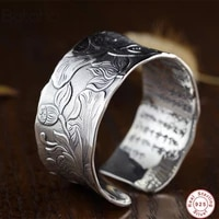 38mm big cuff bangles women lotus carved ethnic open bangle 925 sterling silver colour heart sutra buddhism jewelry gifts bijoux