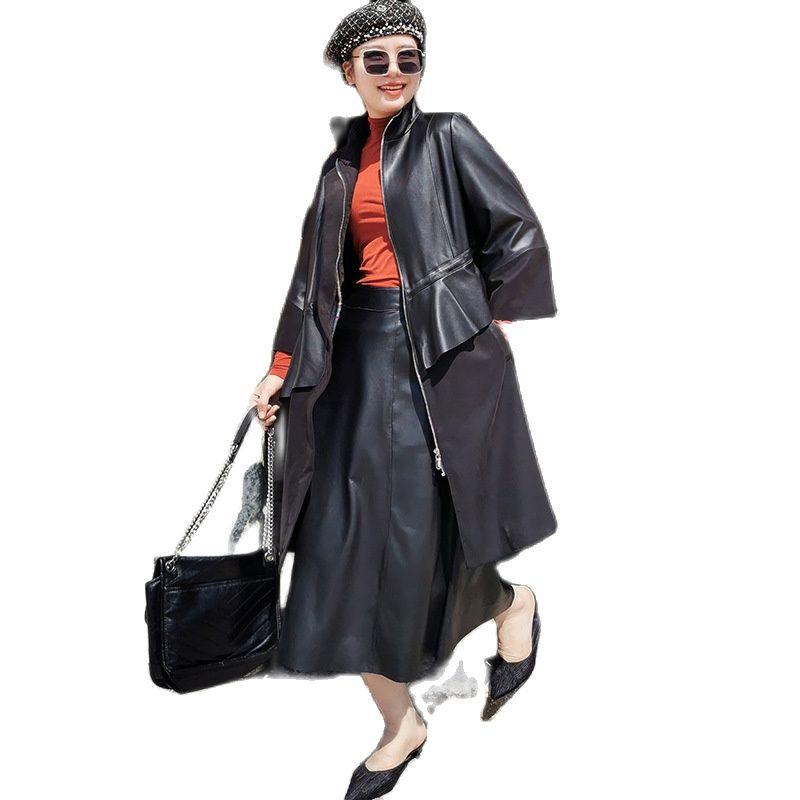 women sheepskin genuine leather windshield real windcoat Leather trench coat jacket
