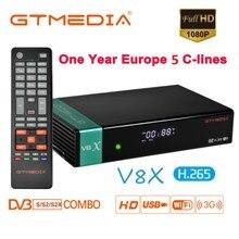 Récepteur Gtmedia V8X HD 1080P DVB-S2/S2X Europe 5 lignes pour 1 an espagne construit Wifi mise à jour de V8 NOVA Satellite récepteur Box