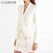 Otoño Formal mujer falda trajes doble Breasted chal Collar chaqueta + Mini falda lápiz dos piezas conjunto trajes Mujer trajes