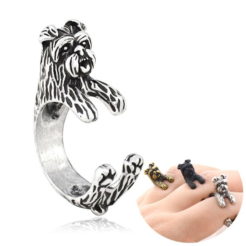 Anillos Retro Affenpinscher con diseño de perro, anillo Animal para hombre, Anillos...