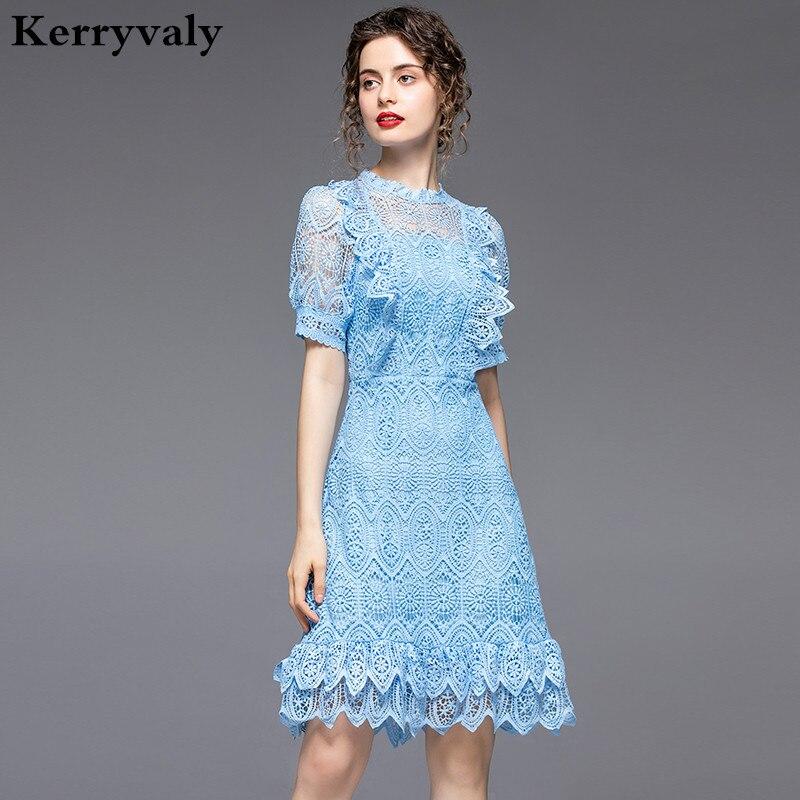 Женское кружевное платье Zomerjurk Dames, Элегантное летнее Полупрозрачное платье с водорастворимым синим кружевом, вечерние платья 2020, K6947