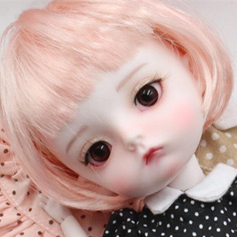 Peluca BJD color rosa en forma de seta 6 a 7 Tamaño en pulgadas-6bjd yosd