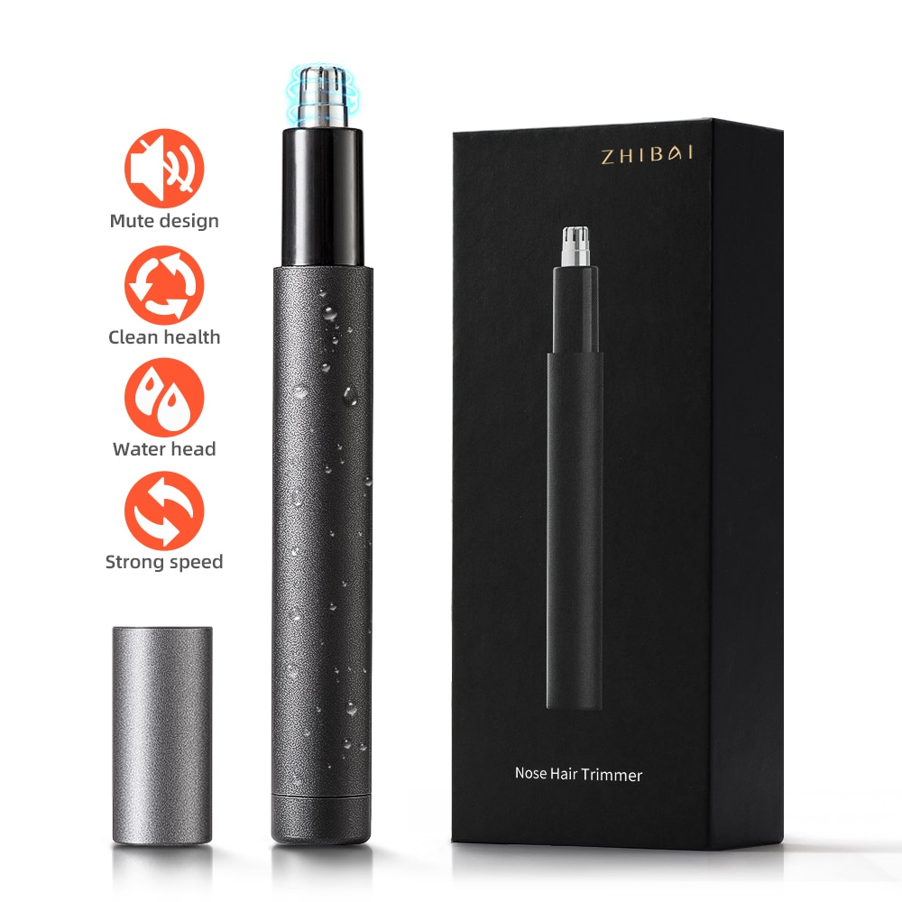 AliExpress - ZHIBAI Electric Nose Hair Trimmers Mini Portable Ear Nose Trimmer Black Waterproof IPX7 Safe Removal Cleaner