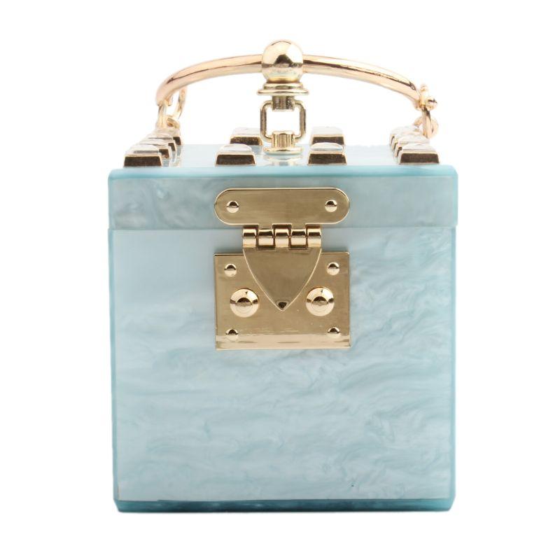 Square Shape Women Acrylic Clutch Evening Bag Metal Wristlets Wedding Party Prom Mini Handbag Purse 517D