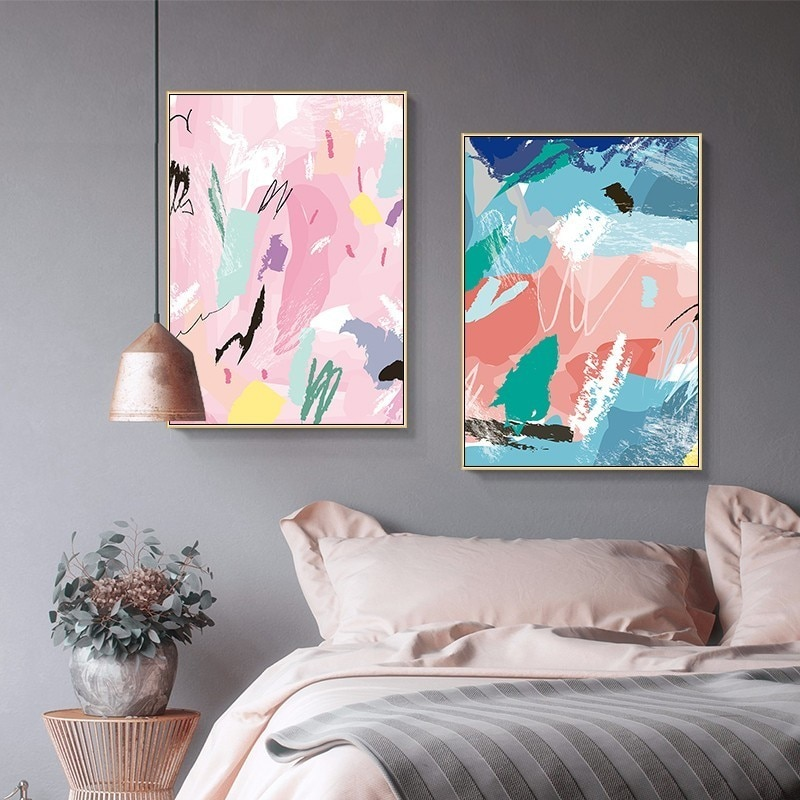 Affiche de toile abstraite aquarelle   Affiche de toile, peinture murale nordique, images dart pour filles, chambre, pépinière, galerie, décor de maison