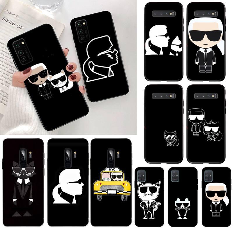 HPCHCJHM Lagerfeld marca diseñador dibujos animados personaje teléfono caso para Samsung S20 plus Ultra S7 S6 edge S8 S9 plus S10 5G lite 2020