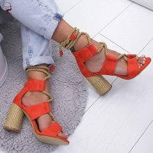 High Heels Sandals Women Shoes Peep Toe Lace Up Square Female Shoes Summer Gladiator Pumps Fashion W