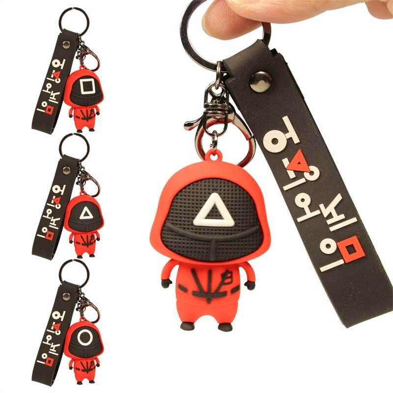 Squid Game Figures Mask Keychain Charms Accessories Round Triangle Cosplay Keychains Women Men Kids
