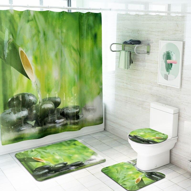 4 pièces bambou imprimé 3d rideaux de bain imperméable Polyester tissu lavable salle de bain rideau de douche anti-dérapant tapis ensemble de tapis
