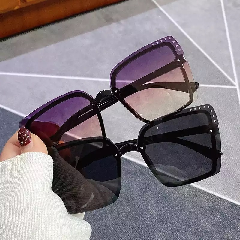 Sunglasses Women Luxury Designer Trending Square Big Frame Glasses Fashion American Style Men Drivin