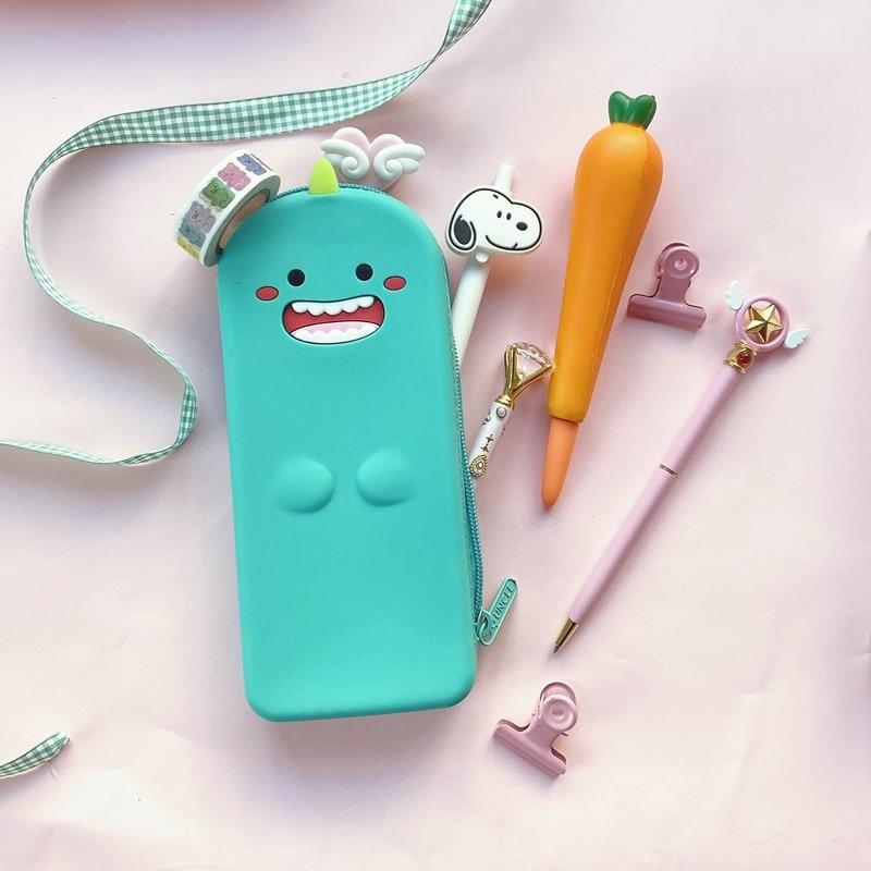 Японская креативная мультяшная Милая силиконовая сумка для ручек, милый Новогодний подарок, канцелярская сумка для хранения, косметичка
