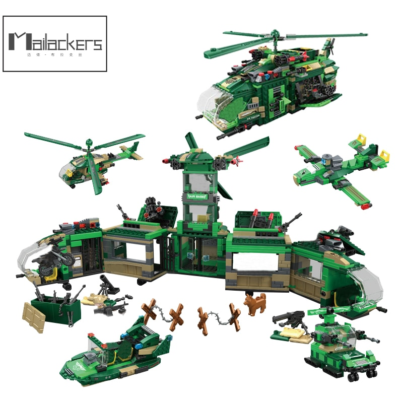 Mailackers Military Base Sets WW2 Weapon Gun Helicopter Tank Army  Soldiers Figures Building Blocks Creator Vehicle Toys For Boy