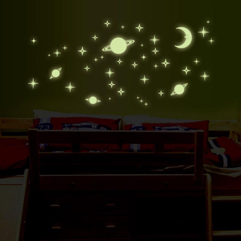 46 sztuk/zestaw dzieci sypialnia efekty specjalne świecąca naklejka na ścianę naklejki wszechświat planeta świecące naklejki naklejki fluorescencyjne