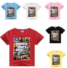 DLF 2-16Y Grand Theft Auto Game GTA 5 Kids Clothes Girls T Shirt Summer Children T-shirts Baby Boys Short Sleeve Cassual Tops