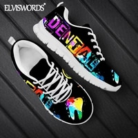 elviswords rainbow dental pattern womens breathable sport sneaker 2020 autumn comfortable flat shoes casual running footwear