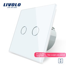 Livolo-interrupteur mural luxueux 3 couleurs   W/B/G, panneau de verre en cristal, interrupteur de rideaux led à commande tactile, Standard ue, 2/5/
