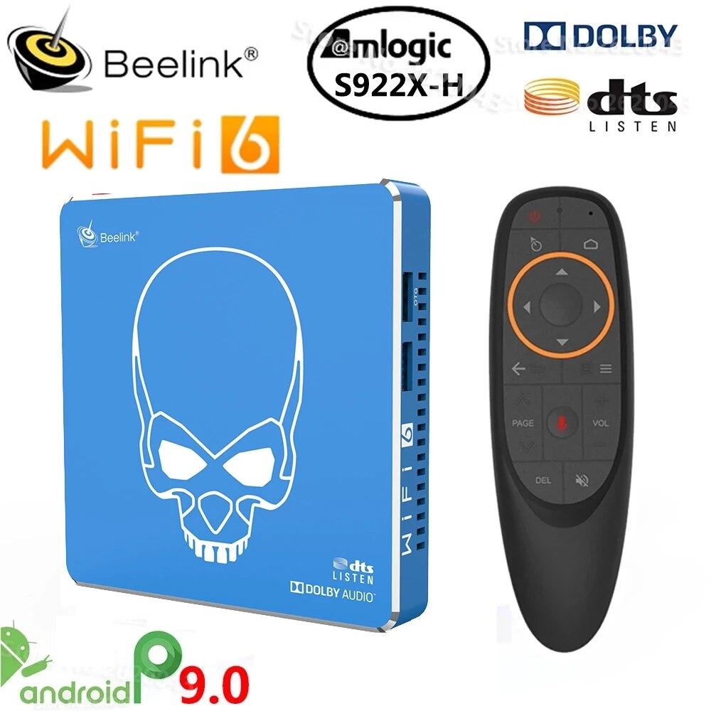 Beelink GT الملك برو S922X-H رباعية النواة Andriod 9.0 مربع التلفزيون الذكية 4G + 64G ROM 2.4G/5.8G واي فاي USB 3.0 bluteeth 4.1 HDMI مشغل صندوق التلفزيون