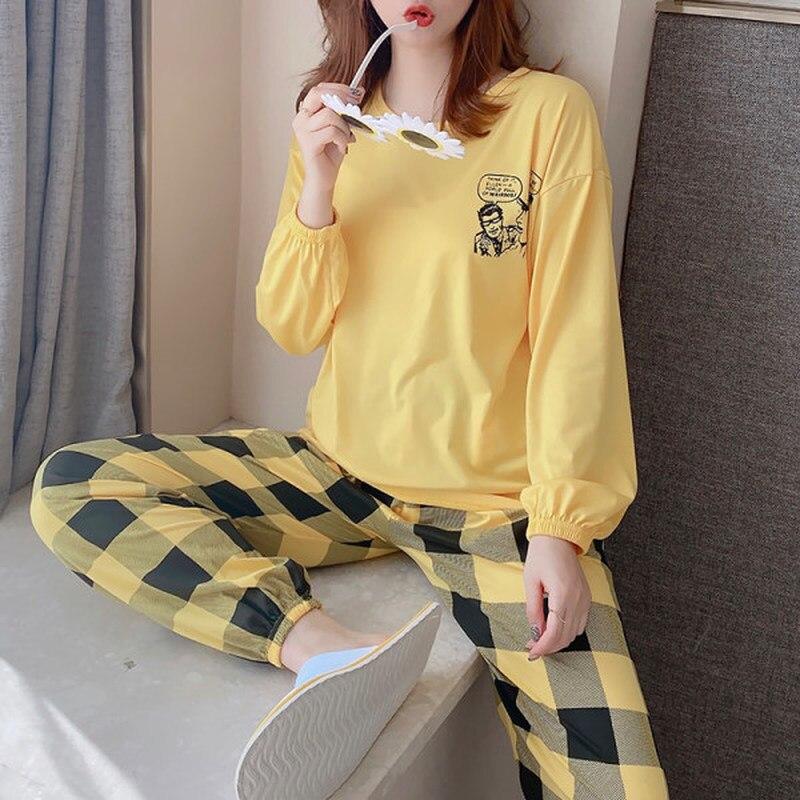 2020 automne à manches longues mince dessin animé imprimer mignon vêtements de nuit fille Pijamas Mujer loisirs Homewear femmes offre spéciale femmes pyjamas ensembles