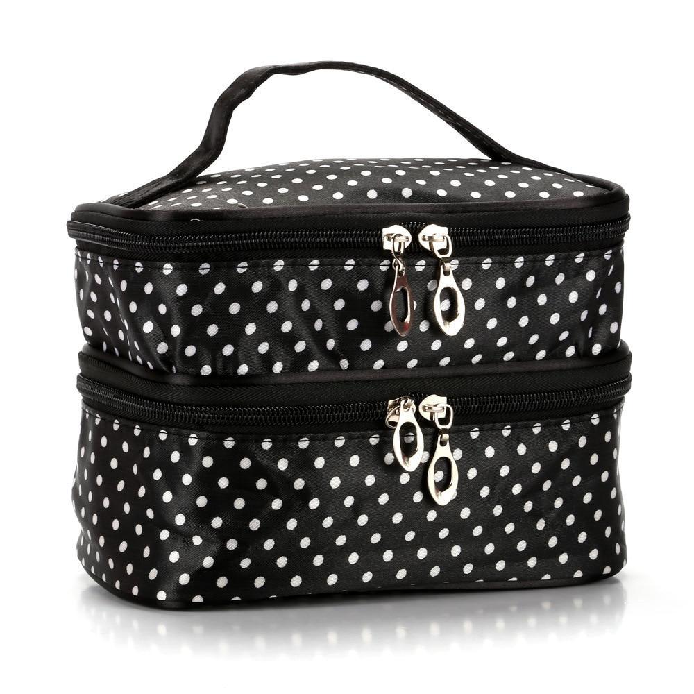 Bolso de maquillaje de doble capa lindo Wavelet Yang dian viaje maquillaje al aire libre bolso de almacenamiento impermeable de doble capa