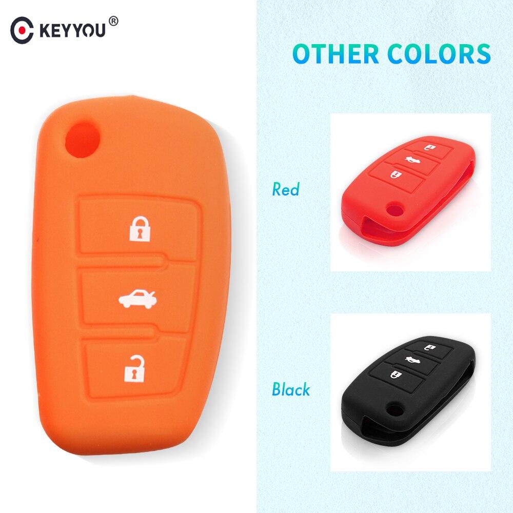 Funda de silicona plegable KEYYOU con 3 botones, carcasa para mando a distancia, funda protectora para Audi A3 A4 A5 A6 A8 Q5 A8 TT S6 TT