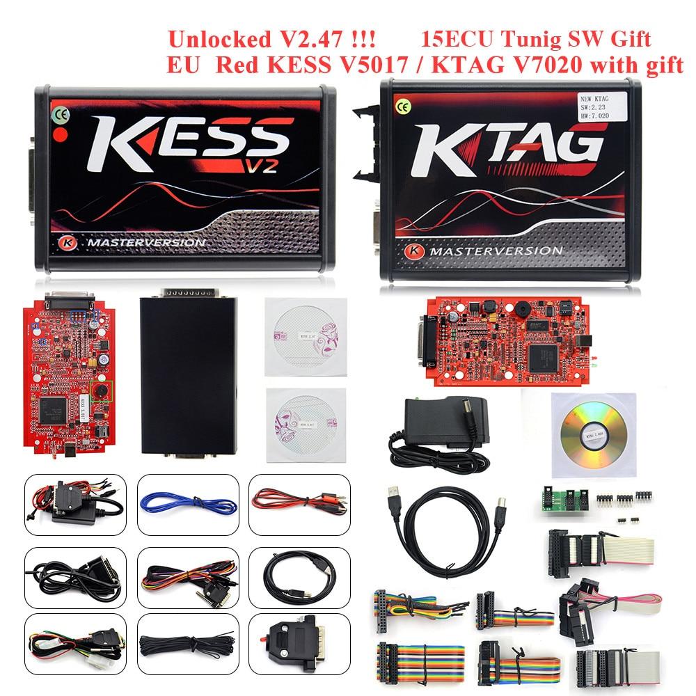 Kess v2 v5.017 completo em linha v2.47 gerente tuning kit ktag v7.020 4 led mestre k-tag v2.25 kess bdm titânio winols ecu programador