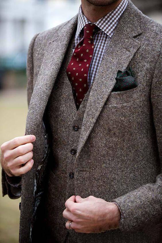 Hombre de Tweed de Donegal de hombre de tres piezas de traje a medida solo Breasted hombres traje de solapa muesca (chaqueta + Pantalones + chaleco)