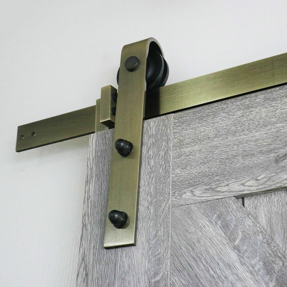 KINMADE 6.6ft Antique Bronze laiton or acier coulissant grange porte matériel Kir pour porte en bois
