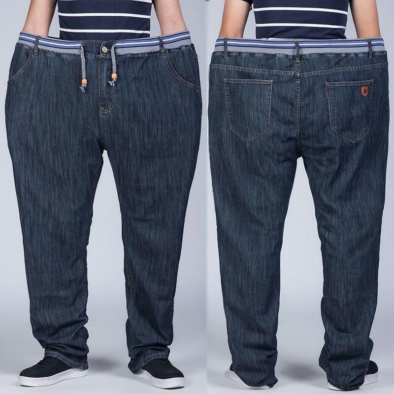 Свободные джинсы с дырками на коленях мужские джинсы с эластичной резинкой на размера плюс джинсы мужские черные брюки, мужские повседневн...
