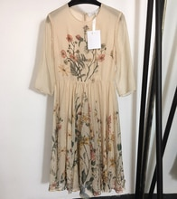 Robe décontractée en soie   Imprimé Floral, coupe A-Line, Femme, luxe, 100%