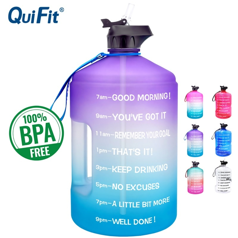 QuiFit 3.78L 2.2L 1.3L Gallon Water Bottle With Straw Plastic Large Capacity GYM Fitness Tourism BPA