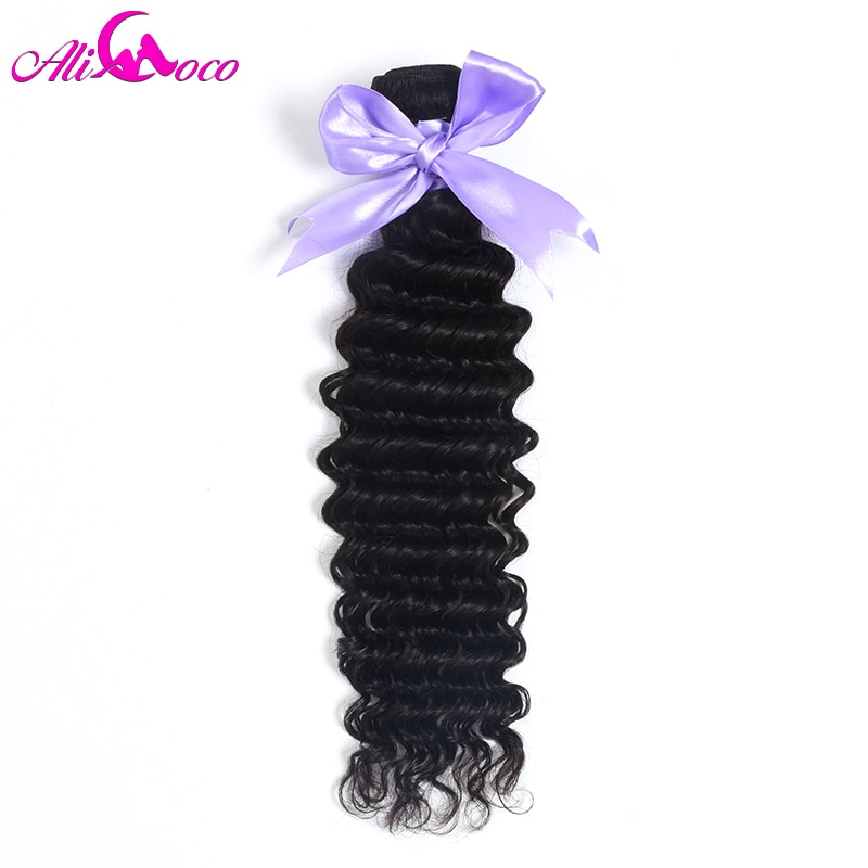 Али Коко волосы бразильские глубокая волна пряди 1/3/4 пряди 100% натуральные кудрявые пучки волос пряди натуральный цвет не Remy волосы для нара...