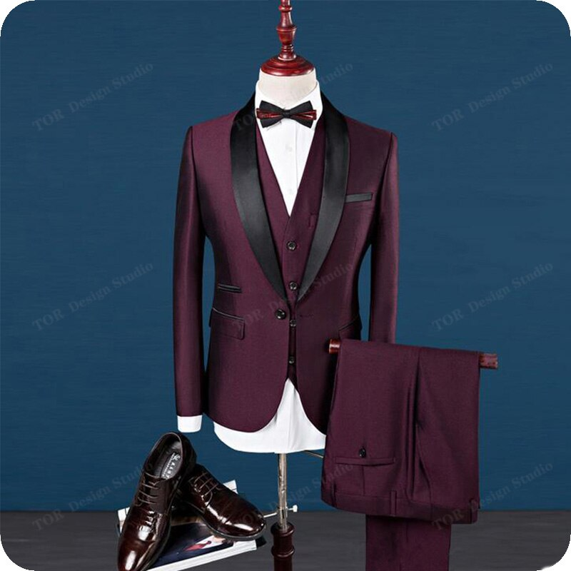 Burgundy Wine Red Men Suits Wedding For Custom Made Tuxedos Formal Slim Fit Groom Best Man Costume Blazer Masculino