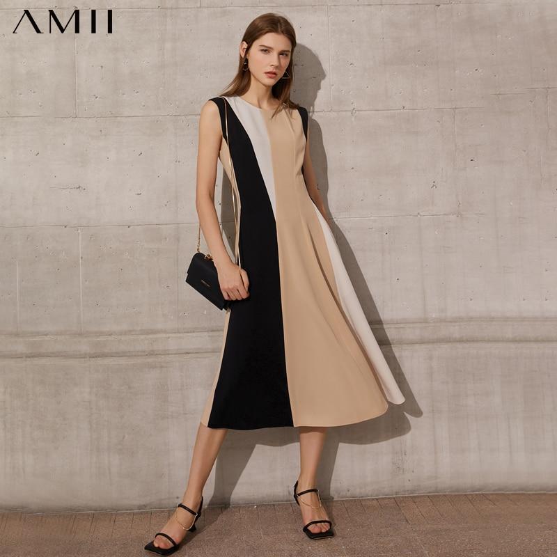 Amii بساطتها المرأة فستان صيفي سيدة الرسمية المرقعة أونيك ألين العجل طول المرأة الشيفون فستان الشاطئ 12140416
