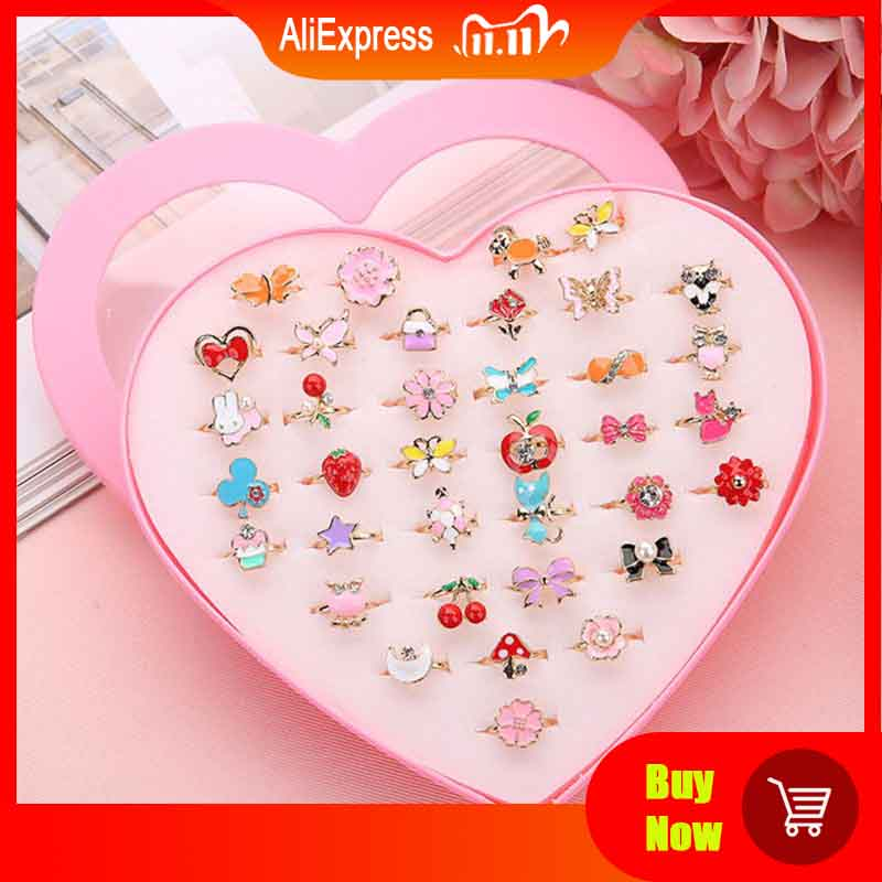 36pcs Children Kids Little Girl Gift, Jewelry Adjustable Rings in Box, Girl Pretend Play and Dress up Rings,Random Shape and Col