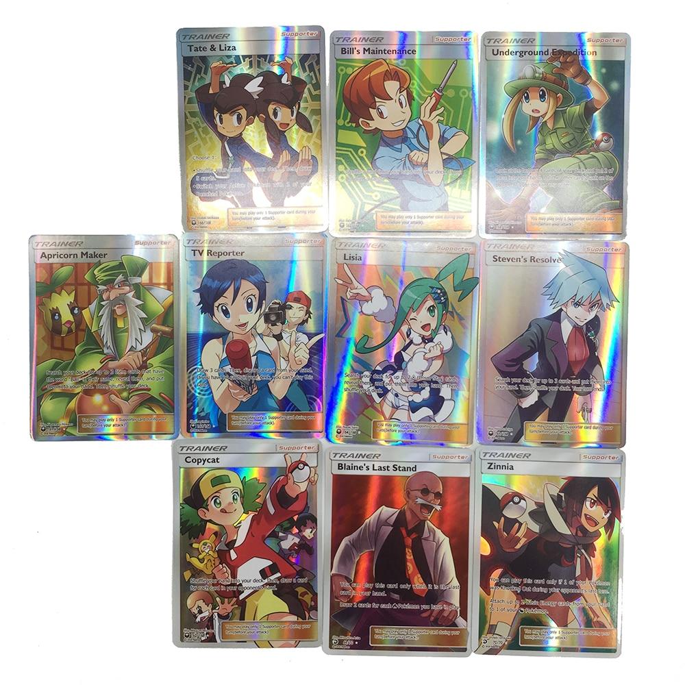 Takara Tomy Pokemon 100PCS GX MEGA Trainer Energy Flash Card Sword Shield Sun Moon Card Collectible Gift Children Toy