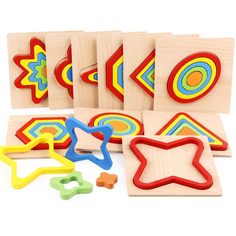 Baby colorful wooden geometric shapes cognition puzzle board game kids math game montessori preschool learning educational toys