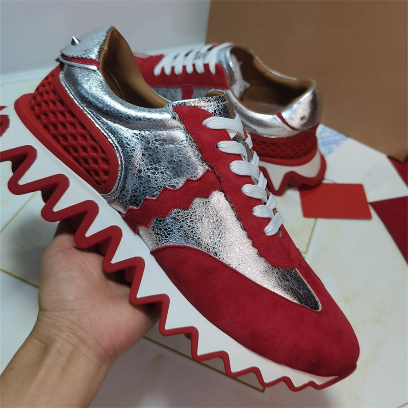 Red wavy soles men's and women's running shoes luxury top quality rivet sneakers leather running shoes