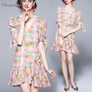 Женское шифоновое платье с V-образным вырезом, повседневное тонкое платье мини с французским принтом, лето 2021