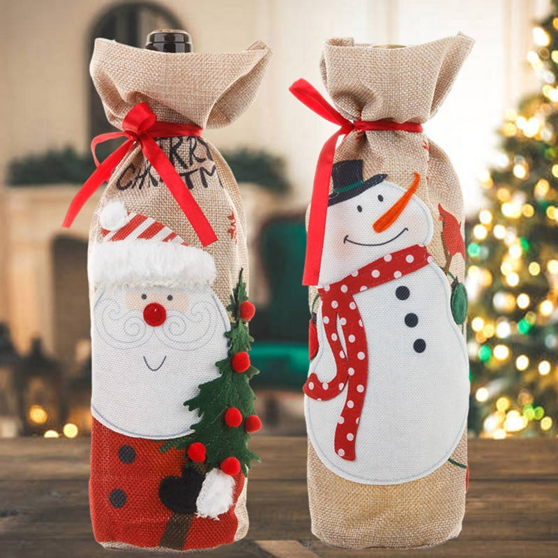 Christmas Wine Bottle Covers Bag Holiday Santa Claus Champagne Bottle Cover Merry Xmas Table Decorat