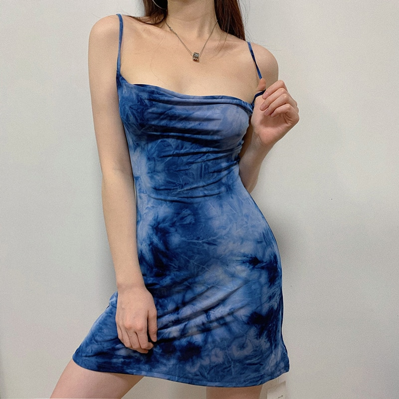 Mulheres Cowl Neck Tie Dye Vestido Deslizamento Mini Vestido