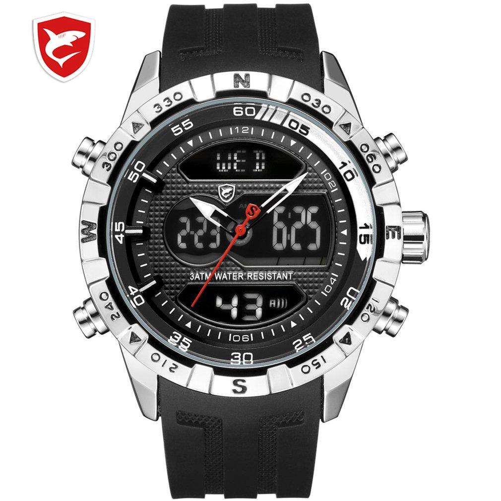 Cool Design SHARK Men Stopwatch Calendar Auto Date Alarm LCD Clock Dual Time Rubber Band Outdoor Watches erkek kol saati / SH599