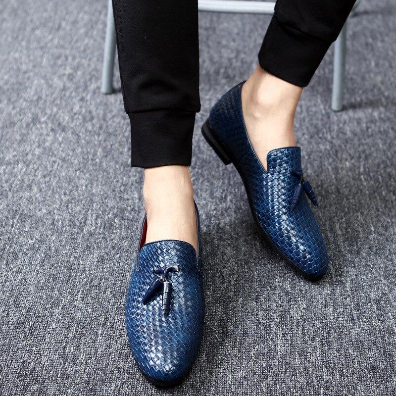 حجم كبير 38-48 الرجال عادية نسج نمط المتسكعون بولي Leather الجلود القيادة الأخفاف شقة الانزلاق على حذاء رجالي غير رسمي