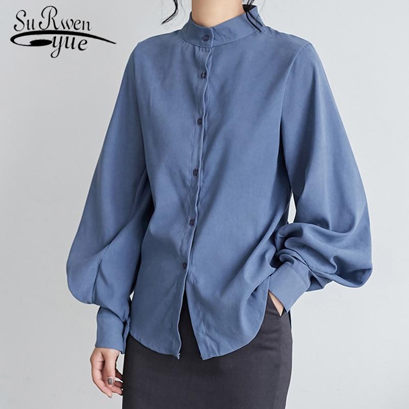 Coreano do vintage lanterna manga gola solta mulheres topos e blusas 2019 outono inverno feminino manga longa camisa 6593 50