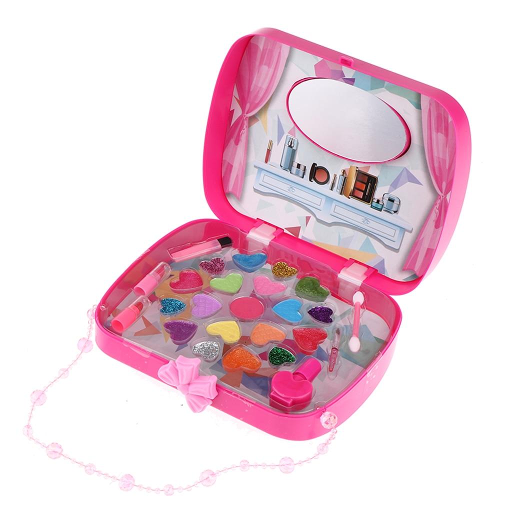 Princess Girl Make Up Play Set Rose Red Handbag Cosmetic Beauty Set for Kids Role Play Toys