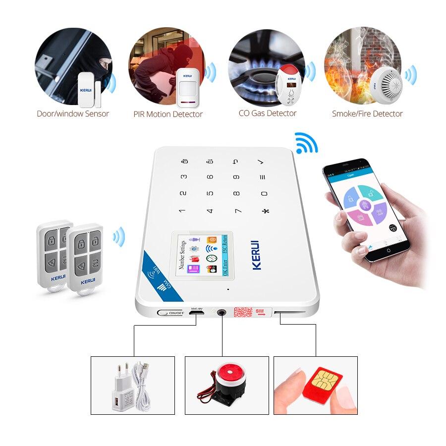 KERUI W18 WIFI Wireless GSM Smart Alarm System Home Security APP Remote Control Indoor Camera Door Sensor Infrared Detector Kit enlarge