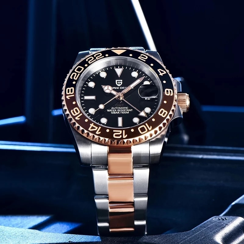 PAGANI تصميم جديد الرجال التلقائي ساعات آلية مقاوم للماء 100 متر فاخر الياقوت الفولاذ المقاوم للصدأ GMT ساعة الرجال Reloj Hombre